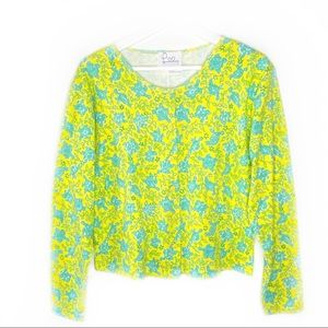 Lilly Pulitzer Yellow Turquoise Turtle Jacket L